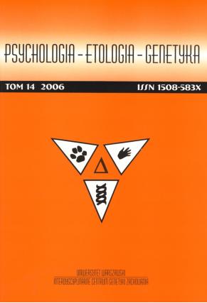 2006 PSYCHOLOGIA - ETOLOGIA - GENETYKA, t. 14 <br>UWAGA!!! Do kupienia także w PDFie