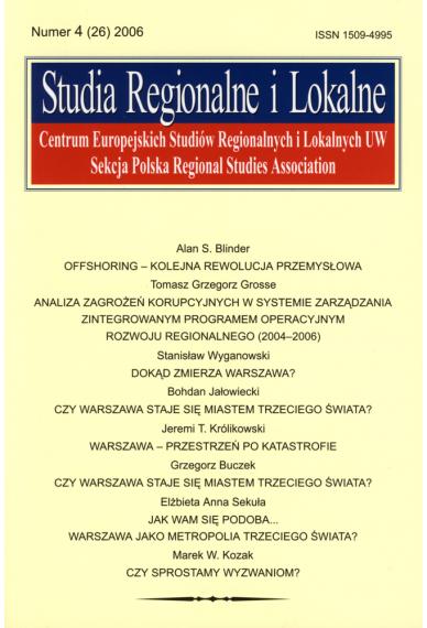 2006 STUDIA REGIONALNE I LOKALNE nr 4 (26) <br>UWAGA!!! Do kupienia także w PDFie