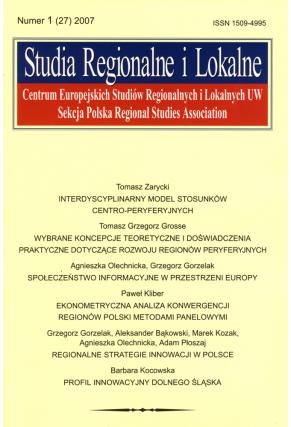 2007 STUDIA REGIONALNE I LOKALNE nr 1 (27) <br>UWAGA!!! Do kupienia także w PDFie