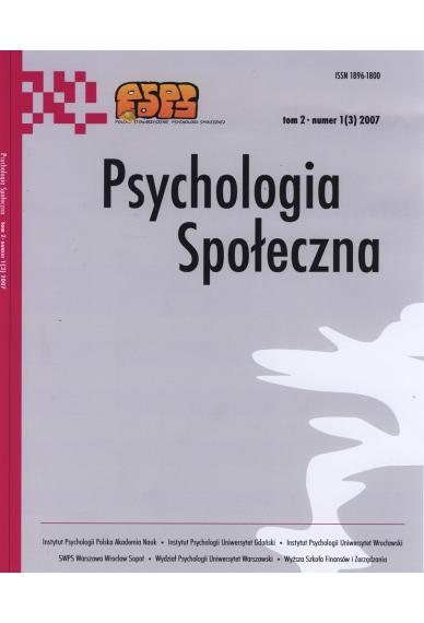 2007 PSYCHOLOGIA SPOŁECZNA nr 1(3), tom 2<br>UWAGA!!! Do kupienia także w PDFie