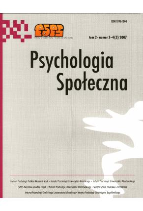 2007 PSYCHOLOGIA SPOŁECZNA NR 3–4 (5),  tom 2 <br> UWAGA!!! Do kupienia także w PDFie