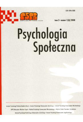 2008 PSYCHOLOGIA SPOŁECZNA NR 1(6),  tom 3 <br>UWAGA! Do kupienia także w PDFie