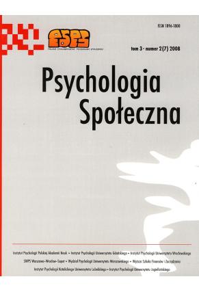 2008 PSYCHOLOGIA SPOŁECZNA NR 2(7),  tom 3 <br>UWAGA!!! Do kupienia także w PDFie