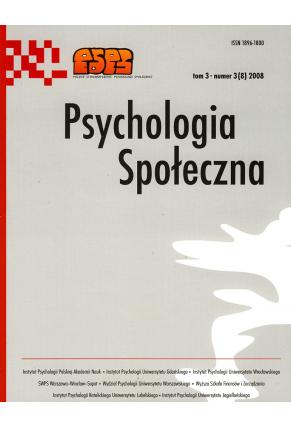 2008 PSYCHOLOGIA SPOŁECZNA NR 3(8),  tom 3 <br>UWAGA!!! Do kupienia także w PDFie