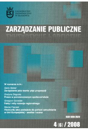 2008 ZARZĄDZANIE PUBLICZNE <br>nr 4 (6) <br>UWAGA!!! Do kupienia także w PDFie