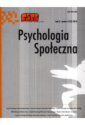 2010 PSYCHOLOGIA SPOŁECZNA NR 1(13),  tom 5 <br> UWAGA! Do kupienia także w PDFie