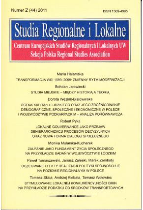 2011 STUDIA REGIONALNE I LOKALNE, nr 2 (44) <br>UWAGA! Do nabycia także w PDFie