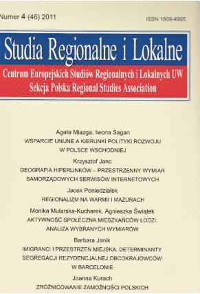 2011 STUDIA REGIONALNE I LOKALNE, nr 4 (46) <br>UWAGA! Do nabycia także w PDFie