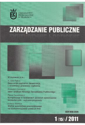 2011 ZARZĄDZANIE PUBLICZNE <br>nr 1 (15) <br>UWAGA! Do kupienia także w PDFie!