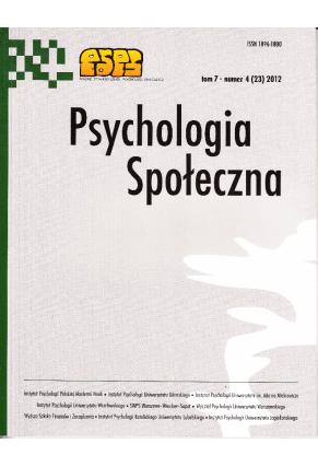 2012 PSYCHOLOGIA SPOŁECZNA NR  4 (23),  tom 7 <br> UWAGA! Do kupienia także w PDFie