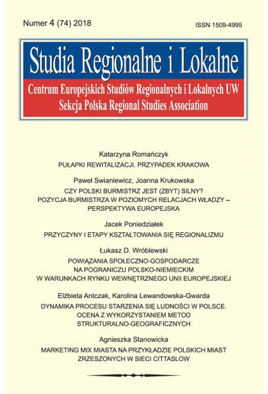 2018 STUDIA REGIONALNE I LOKALNE, NR 4 (74) <br> Uwaga! Do kupienia także w PDFie