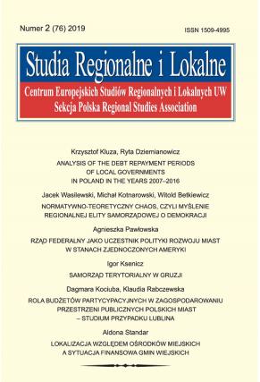 2019 STUDIA REGIONALNE I LOKALNE, NR 2 (76)<br>Uwaga! Do kupienia także w PDFie