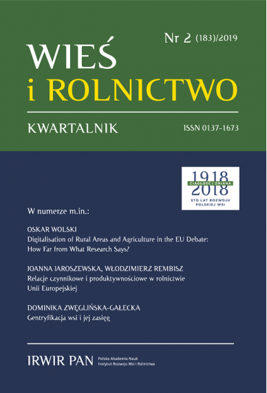 2019 WIEŚ I ROLNICTWO<br> t. 182, nr 1<br> UWAGA, do kupienia także w PDFie!