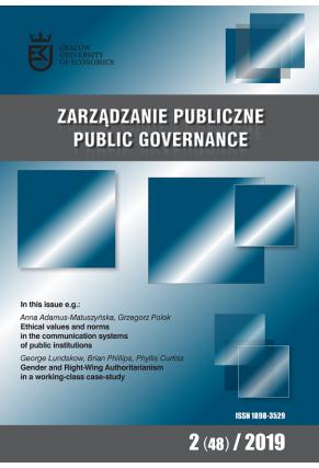 2019 ZARZĄDZANIE PUBLICZNE <br> nr 2 (48) <br>Uwaga! Do kupienia także w PDFie