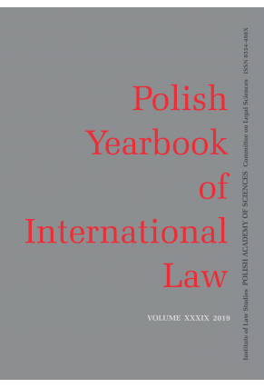 2019 POLISH YEARBOOK OF INTERNATIONAL LAW <br>vol. XXXIX