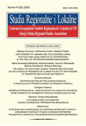 2020 STUDIA REGIONALNE I LOKALNE, NR 4 (82)<br> Uwaga! Do kupienia także w PDFie
