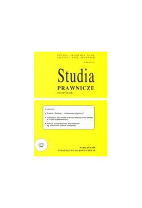 2008 STUDIA PRAWNICZE nr 1 <br>UWAGA!!! Do kupienia WYŁĄCZNIE w PDFie